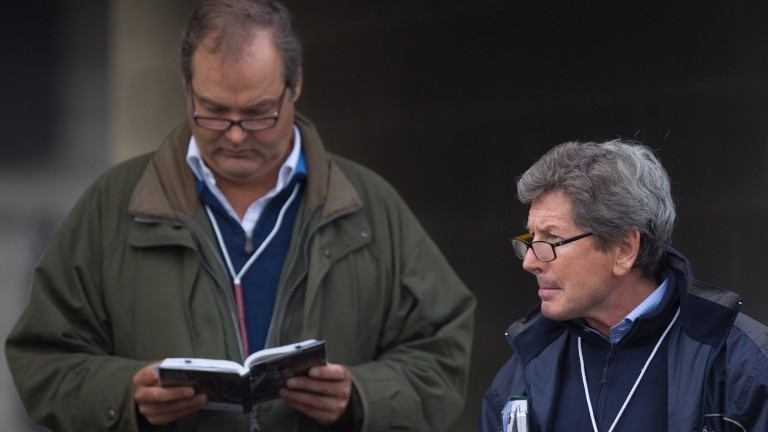 Harry Herbert (left) and John Warren at the Goffs Orby Sale in 2013