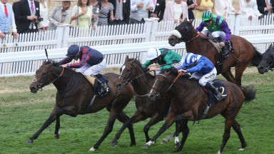 The Tin Man ridden (Tom Queally) winning The Diamond Jubilee at Royal Ascot in June from Tasleet (striped cap) and Limato