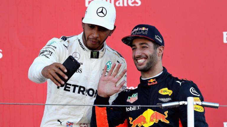 Lewis Hamilton (left) snaps a selfie with Red Bull's Daniel Ricciardo