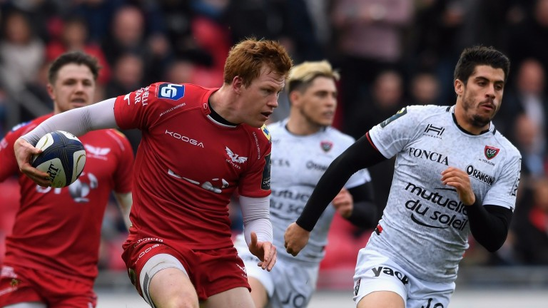 Scarlets fly-half Rhys Patchell on the ball in last season's narrow home defeat to Toulon