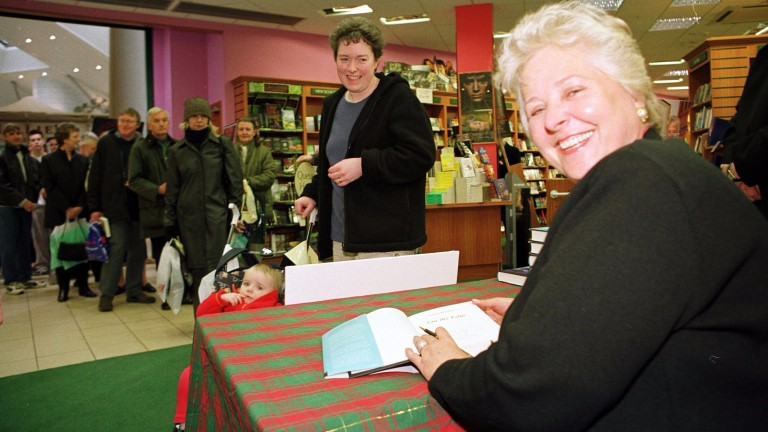 Jenny Pitman, prolific racing author, signs another of her thrillers