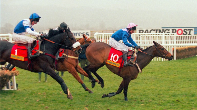 Aldrebrook (left) on his way to winning the Champion Hurdle