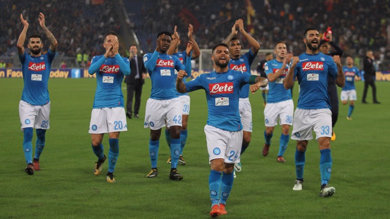 Napoli celebrate a recent win at Roma