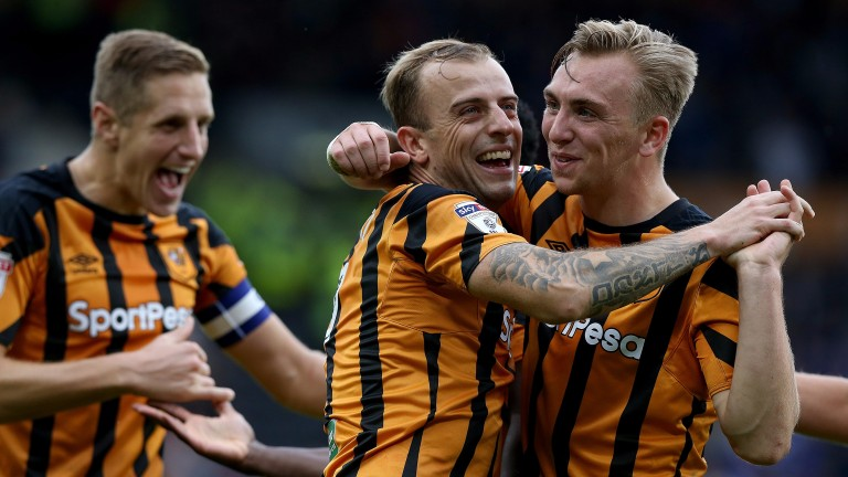 Hull celebrate scoring against Birmingham