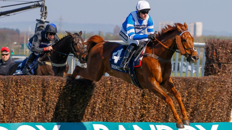San Benedeto (Nick Schofield) on his way to Grade 1 novice chase success at Aintree