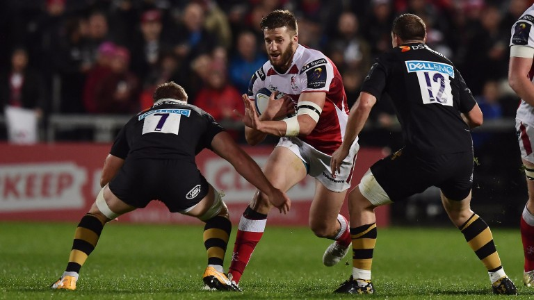 Ulster centre Stuart McCloskey takes on the Wasps defence