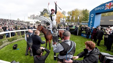 ASCOT, ENGLAND - OCTOBER 21:  Frankie Dettori celebrates after he rides Cracksman to win The QIPCO Champion Stakes during the QIPCO British Champions Day at Ascot Racecourse on October 21, 2017 in Ascot, United Kingdom.  (Photo by Eamonn M. McCormack/Gett