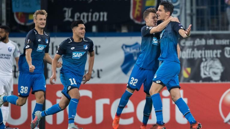 Benjamin Huebner of Hoffenheim (right) celebrates