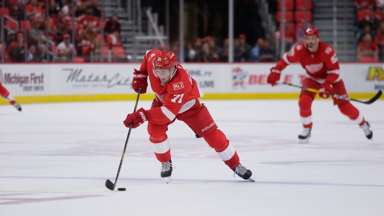 Detroit's Dylan Larkin moves the puck up ice