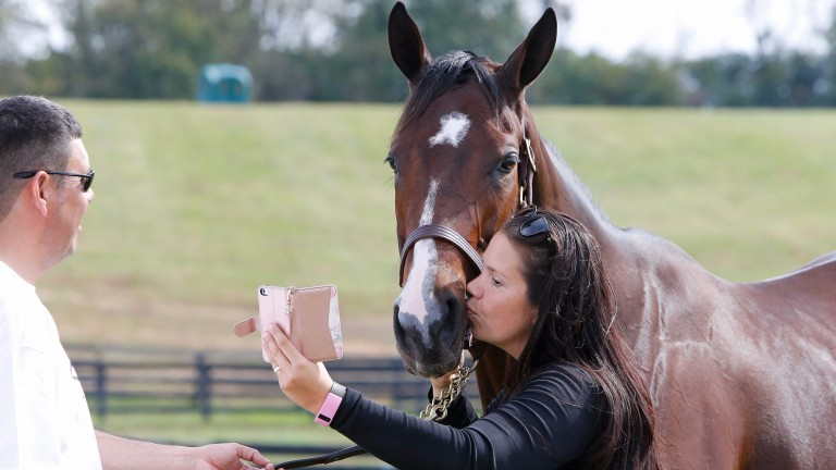 Pucker up! Songbird poses for a selfie
