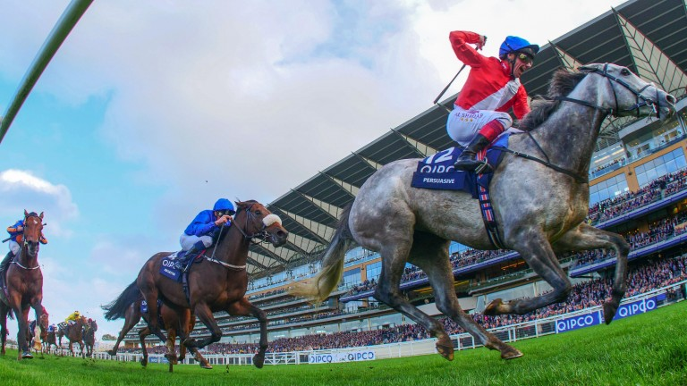 Ribchester (noseband) is no match for Persuasive on soft ground in the Queen Elizabeth II Stakes at Ascot
