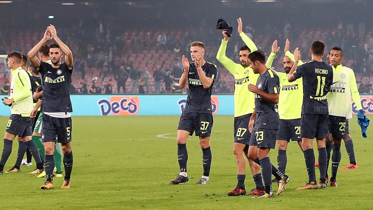 Inter players applaud their fans