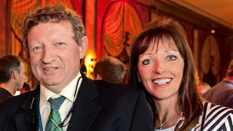 Johnston with wife Deirdre, who has played an integral part in his success