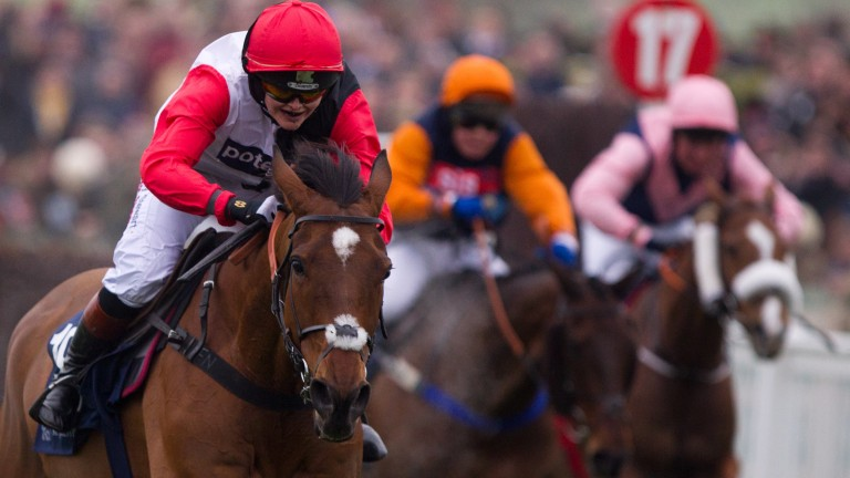 Victoria Pendleton finishes fifth on Pacha Du Polder in the 2016 St James's Place  Foxhunters Chase at Cheltenham