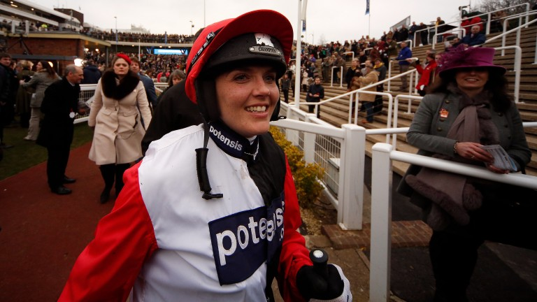 Victoria Pendleton is all smiles after riding Pacha Du Polder to finish fifth in the 2016 Foxhunter at Cheltenham