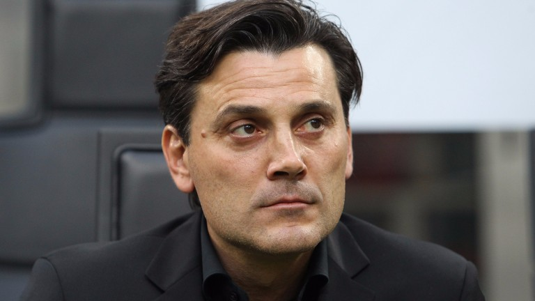 Milan coach Vincenzo Montella looks on