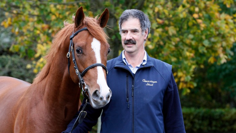 John Tuthill with the Dragon Pulse yearling colt out of a half-sister to Choose Me, the dam of Persuasive, at Goffs on Tuesday