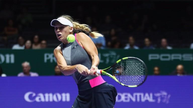 Caroline Wozniacki in action against Elina Svitolina