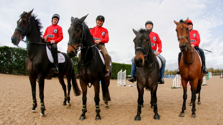 Champion jockeys AP McCoy, John Francome, Richard Dunwoody and Peter Scudamore get a show jumping lesson from Olympic show jumper Graham Fletcher