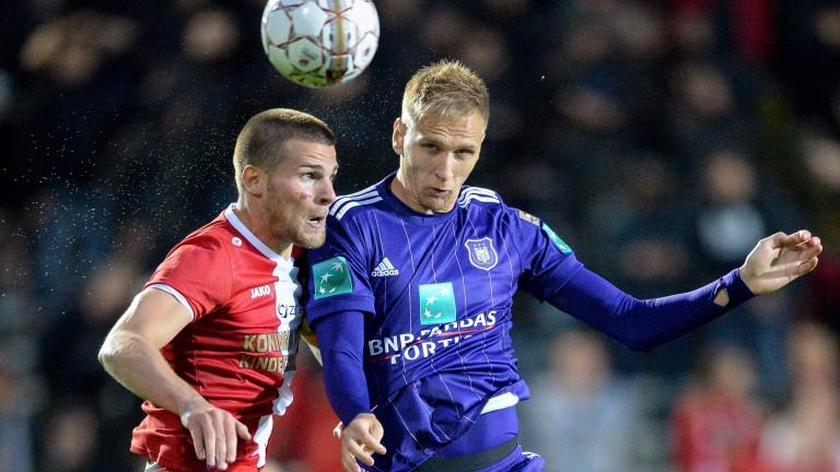 Alexander Corryn (left) of Antwerp in action against Anderlecht