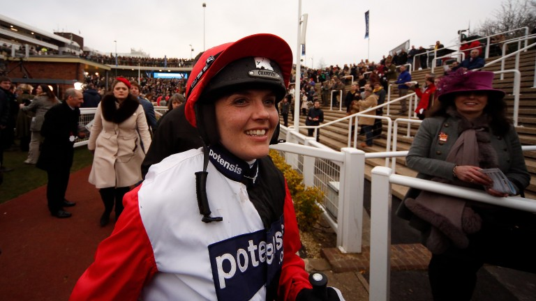 Olympic cycling gold medallist Victoria Pendleton after her fifth on Pacha Du Polder in the St James's Place Foxhunter Chase at Cheltenham