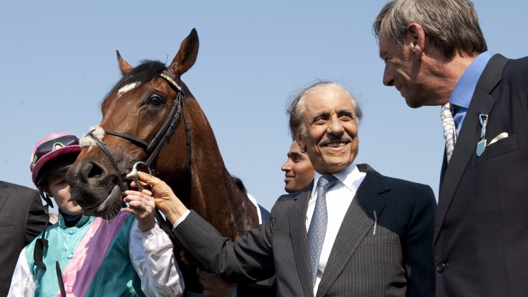 Prince Khalid's crowning achievement: Frankel, seen here with jockey Tom Queally and trainer Sir Henry Cecil. Delahooke bought the second dam's sire as well as the mother of Frankel's damsire