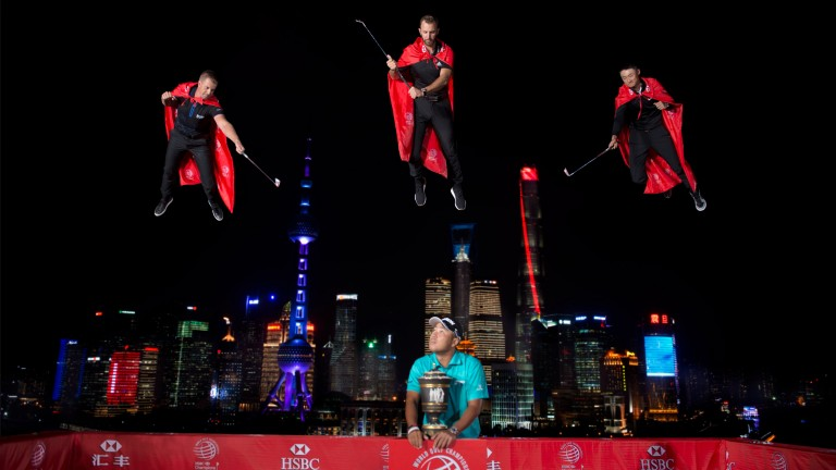 Dustin Johnson (centre, top) has hit the front in China