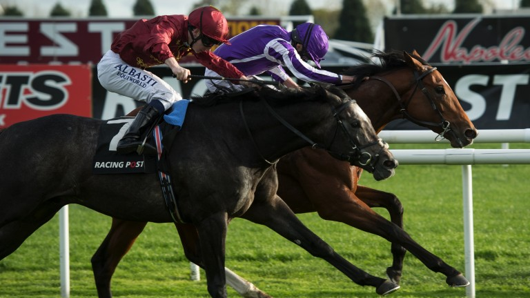 Historic win: Saxon Warrior (far side), ridden by Ryan Moore, battles back to defeat Roaring Lion in the Racing Post Trophy, providing Aidan O'Brien with a record 26th top-level victory this year