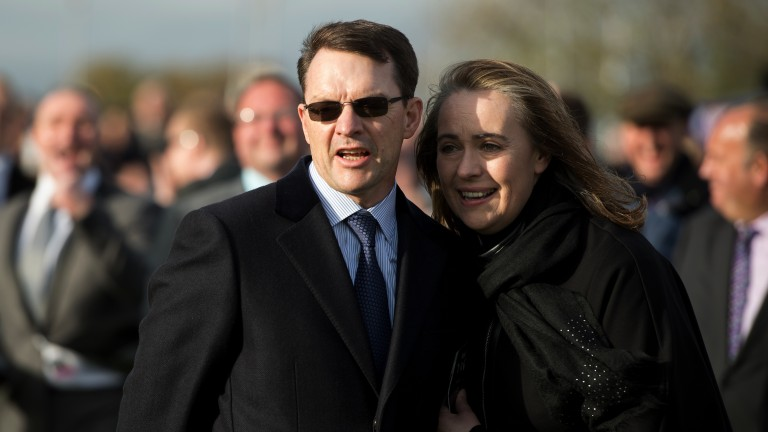 Celebration time: Aidan O'Brien and his wife Annemarie are all smiles following the record-breaking triumph