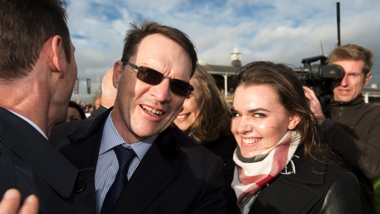 Sheer delight: Aidan O'Brien, with daughter Ana O'Brien by his side, beams with joy in the immediate aftermath to Saxon Warrior's success