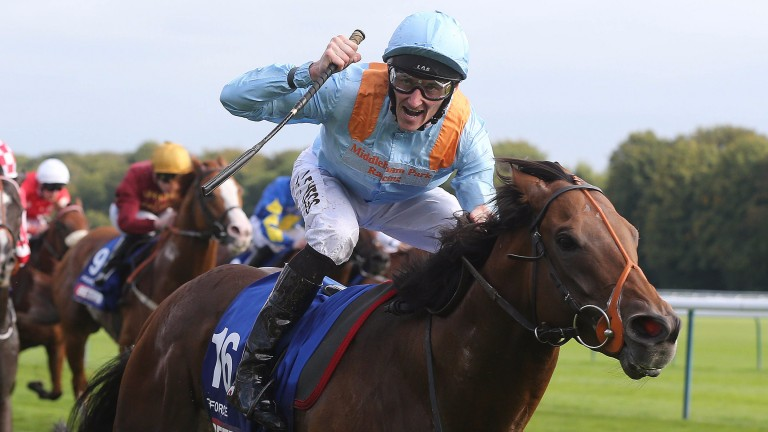 Danny Tudhope celebrates winning the Haydock Sprint Cup aboard G Force
