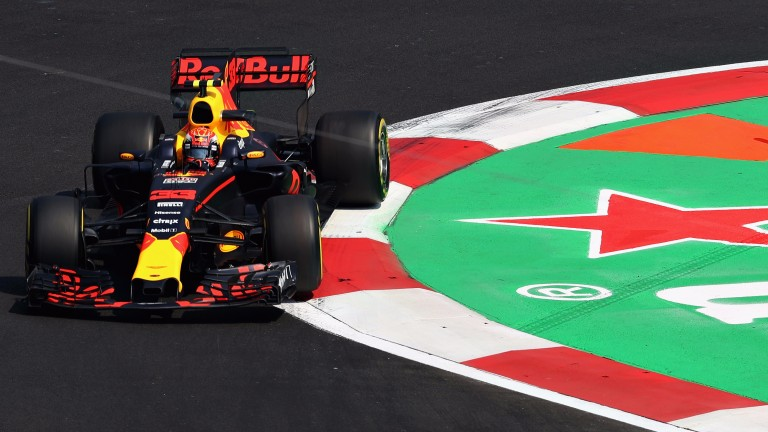 Max Verstappen on track during practice for the Mexican Grand prix
