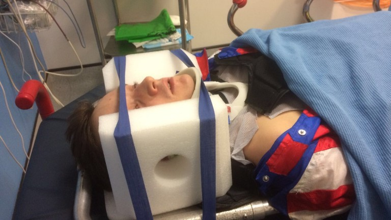 Chaloner awaits treatment in hospital at Wolverhampton last November