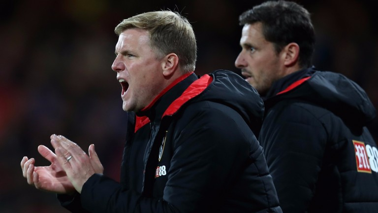 Bournemouth manager Eddie Howe encouraging his team against Chelsea