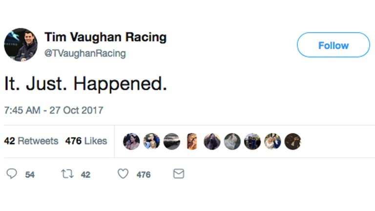 Tim Vaughan Racing tweet
