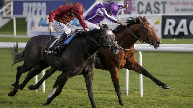 Roaring Lion (Oisin Murphy, near side) and Saxon Warrior fight out a dramatic finish to the Racing Post Trophy
