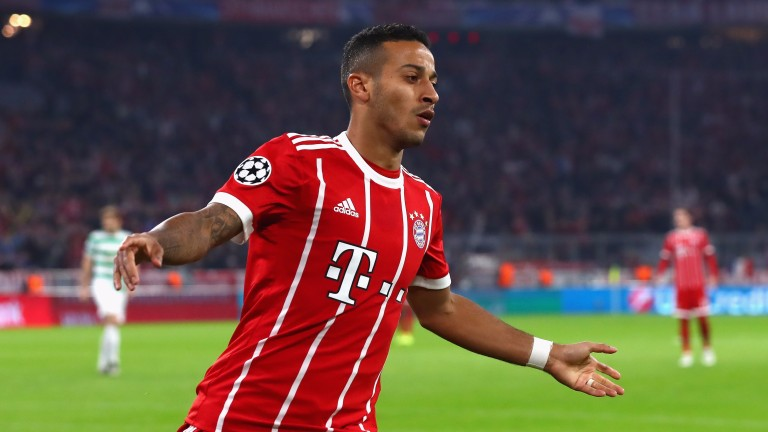 Thiago Alcantara helped Bayern Munich to a 3-0 home win over Celtic