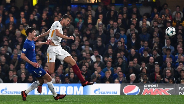 Edin Dzeko scores for Roma against Chelsea at Stamford Bridge