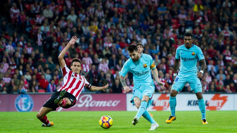 Lionel Messi scores for Barcelona at Athletic Bilbao