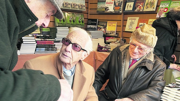 Sir Peter O'Sullevan (right) with his great friend Lester Piggott at a book signing at Cheltenham