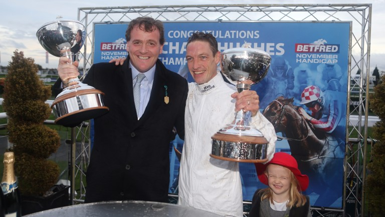 Richard Hannon and Richard Hughes with their trophies at Doncaster in November 2014