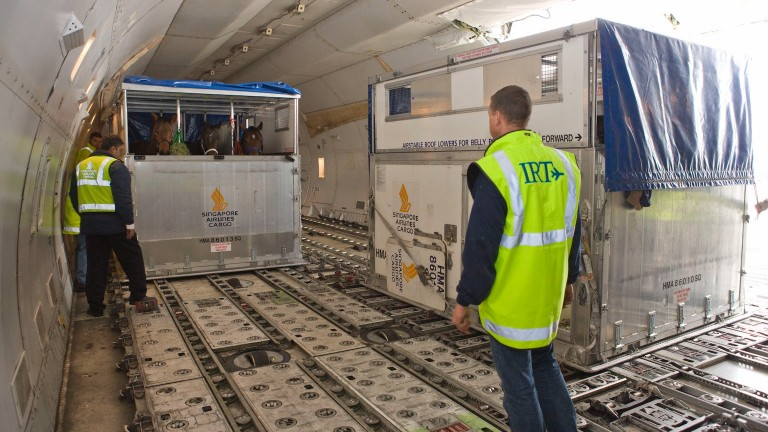 Three economy passengers look on as another crate arrives