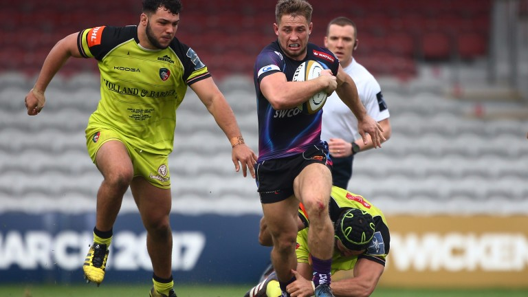 Sam Hill makes a break for Exeter in last year's Anglo-Welsh Cup final