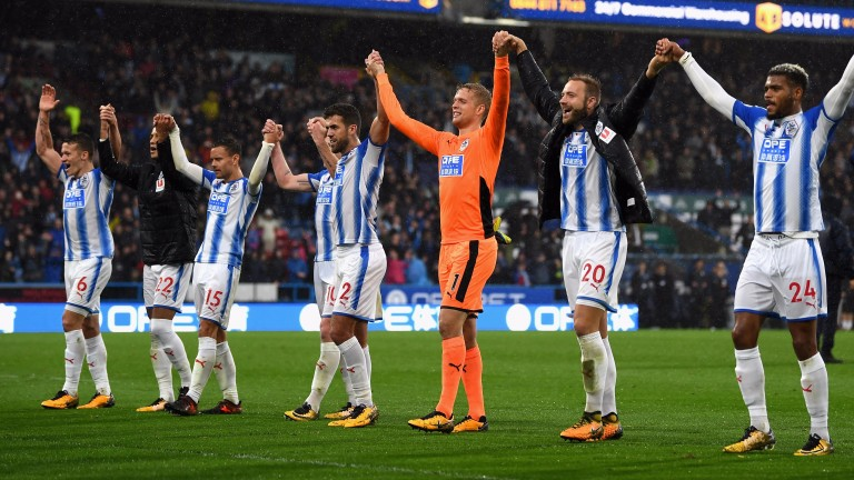 Huddersfield celebrate their win over Manchester United