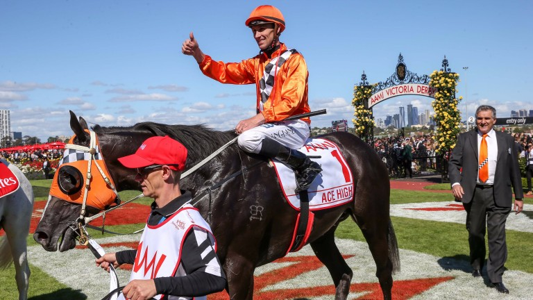 Ace High and Tye Angland after winning the Group 1 Victoria Derby at Flemington on Saturday