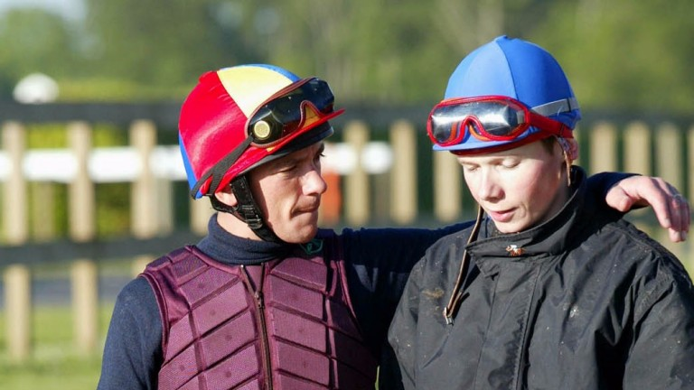 Is Frankie Dettori giving Jamie Spencer some dancing tips?