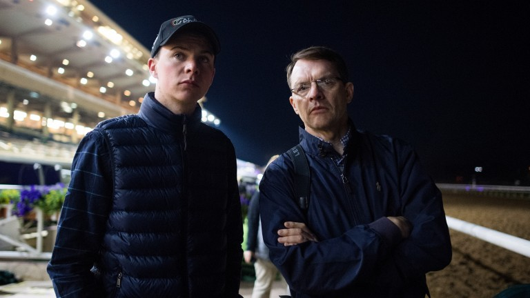 Joseph and Aidan O'Brien pictured at Del Mar on the eve of the Breeders' Cup