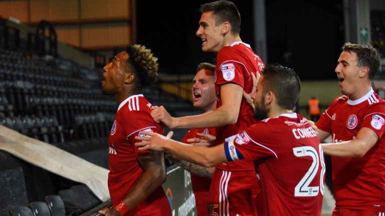 Accrington Stanley celebrate a goal at Notts County