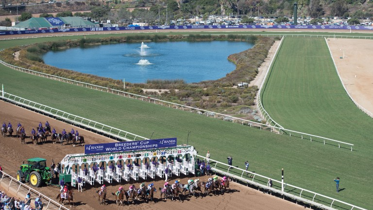 A fantastic image taken on a glorious day, highlighting the tight nature of the Del Mar turf track