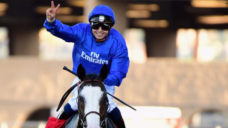 Michael Barzalona salutes Talismanic after landing the Longines Breeders' Cup Turf at Del Mar